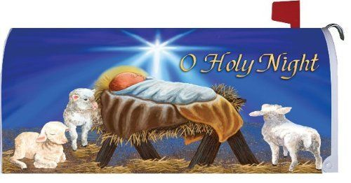 """O Holy Night Magnetic Mailbox Cover Christmas Wrap by Mailbox Makeover. $17.99. Vinyl cover with UV inks. Fits a standard metal mailbox that is 6.5"""" wide and 19"""" long. Magnetic strips at the bottom. Design is on both sides. Cut out for flag. Specially formulated UV inks protect your quality vinyl mailbox cover from fading, cracking, or peeling. Cover has a cut out for the flag and folds easily over your mailbox. The bottoms of the cover have magnetic strips. Made in USA."""