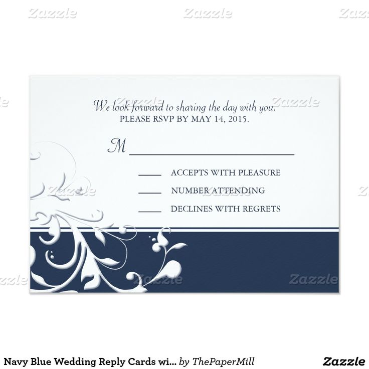 Navy Blue Wedding Reply Cards with Flourishes RSVP