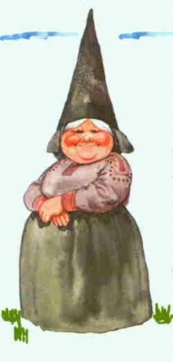 Lady Gnomes.      The adult female gnome weighs 250 - 275 grams... Female Gnomes tend to wear camouflage colors (gray or Khaki)..until she is married she wears a green cap, with her braids sticking out. After marriage, her hair disappears under a scarf and darker cap..when 350 years or older she begins to show a light beard....she usually only stays at home and doesn't wander about.