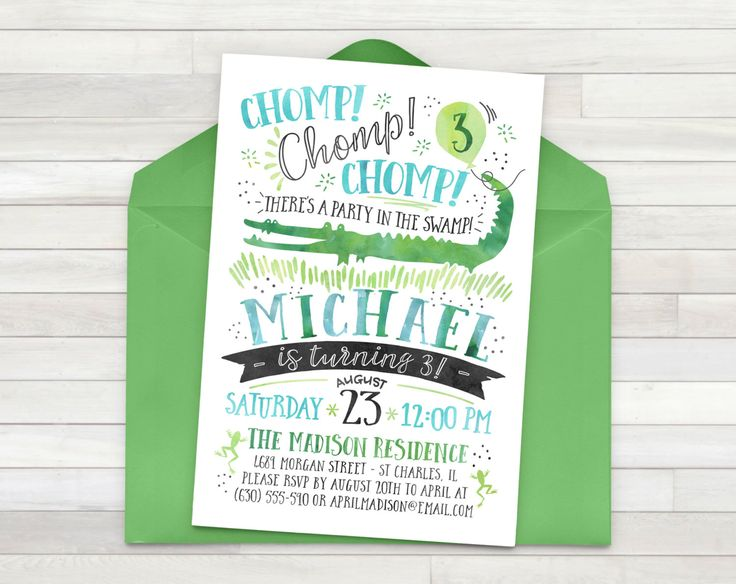 Alligator Invitation, Alligator Birthday Party, Gator Party, Boy Birthday, Alligator Party, Alligator Invite, Swamp - Printable by PricklyPress on Etsy https://www.etsy.com/au/listing/454177130/alligator-invitation-alligator-birthday