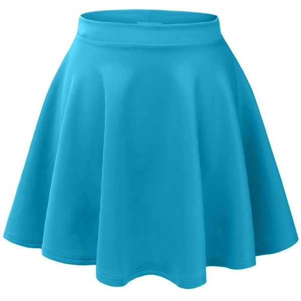 RubyK Womens Casual Flared Color Skater Skirt ❤ liked on Polyvore featuring skirts, flared hem skirt, flare skirt, blue skirt, blue circle skirt and flared skirt