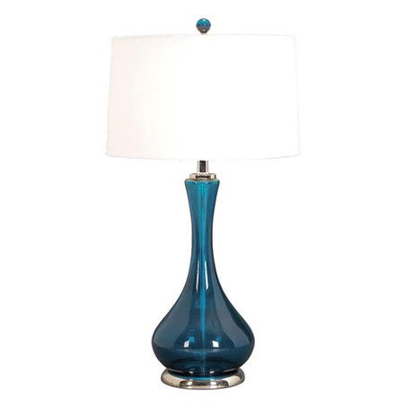 Set of two glass table lamps.Product: Set of 2 table lamps    Construction Material: Glass and fabric    C...