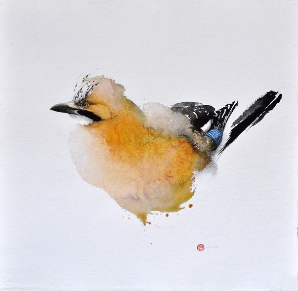 Unique watercolour paintings of birds with just a limited brushstroke and let imagination do the rest. Karl Mårtenso one of the finest watercoour artists