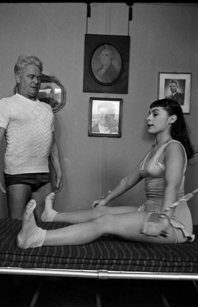 Joe Pilates & opera singer Roberta Peters. Date taken:February 2, 1951. Photographer:	Michael Rougier