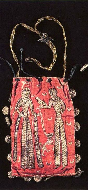 «Where a Lady with a Dog and a Man with a Falcon...», French embroidered purse, 1170-90 (Musée municipal Alfred-Bonno, Chelles, Seine-et-Marne) -- Silk threads on linen.