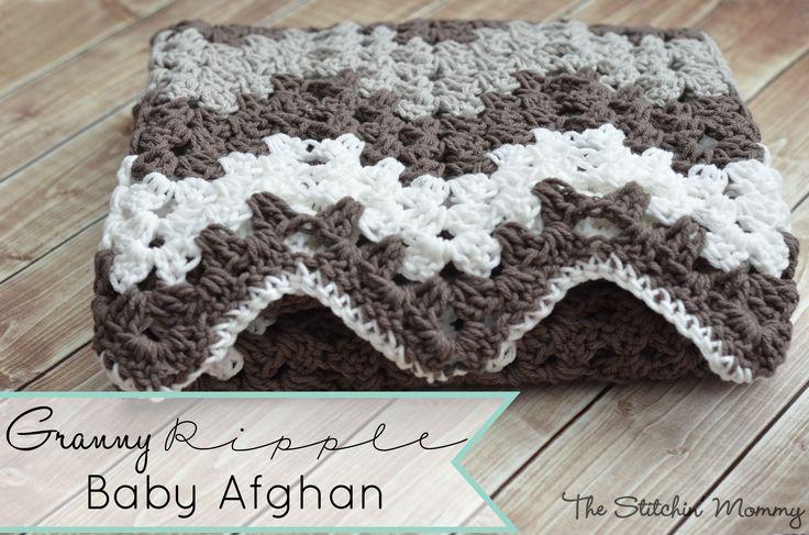 Granny Ripple Baby Afghan www.thestitchinmommy.com #crochet #afghan #baby #crochet #crochetstitch #chevronstitch