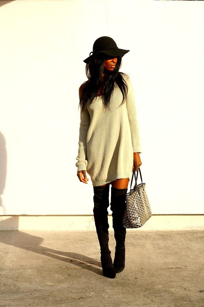 Une robe pull et des cuissardes, un autre mix parfait !