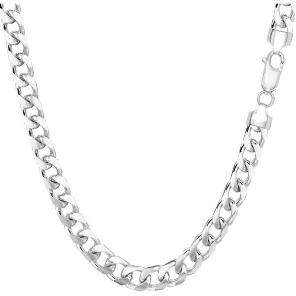 Jewelryaffairs 14k White Gold Miami Cuban Link Chain Necklace - Width... (2,200 CAD) ❤ liked on Polyvore featuring men's fashion, men's jewelry, men's necklaces, white, mens pendant necklace, mens white gold necklace, mens white gold chain necklace, mens chain necklace and 14k gold mens necklace