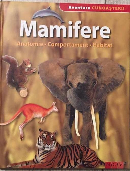 Mamifere - Aventura Cunoasterii; Varsta: 4+; De cand exista mamifere pe pamant? Dupa ce principiu isi construieste cartita galeriile sale urbane? Copii si tinerii vor gasi raspunrusi aici. Imagini sugestive si texte usor accesibile prezinta succint si palpitant de la maimuta, liliac, coiot pana la oaie si tapir aproape toate genurile de mamifere cu principalele specii, insistand totodata asupra comportamentului si habitatului lor.