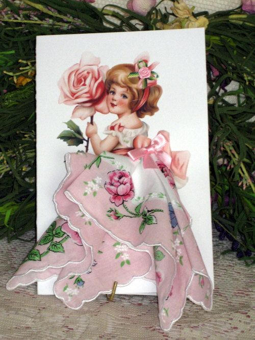 Little Lady Rose Keepsake Hanky Card by onceuponahanky on Etsy