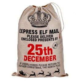 Picked up three of these this week for my kids. Can't believe the quality of them and they are a great size - not so ridiculously large that a teenager's small parcels are lost but still big enough to take a good few packages. A great addition to Xmas morning & derv much cheaper than the similar hessian ones I've seen on other High Street sites    Christmas Sack - Elf Mail Design