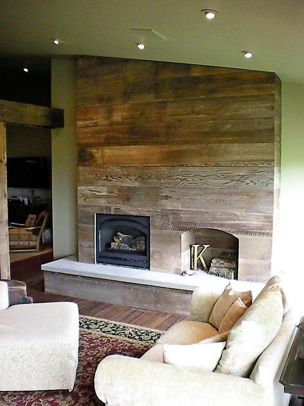 Rustic fireplace made from reclaimed barn wood hand poured concrete hearth let 39 s remodel our - Rustic wall covering ideas ...