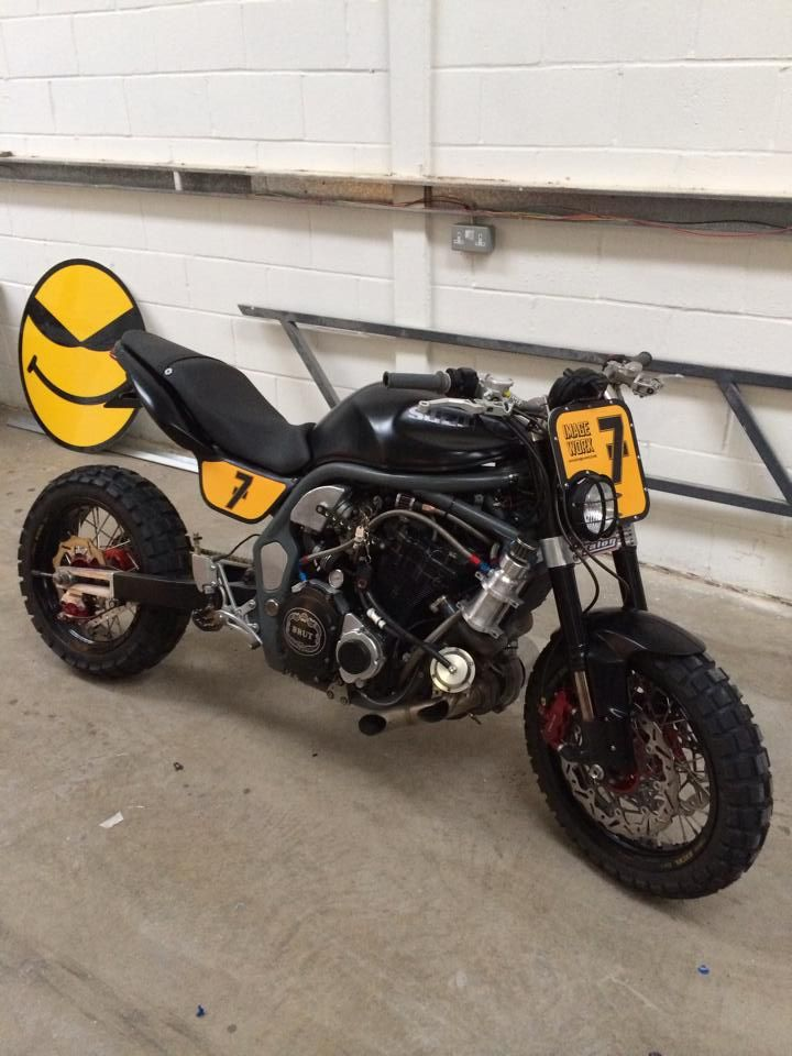 Modified Triumph Street Triple With Tkc80s For On Off Road Fun