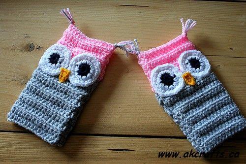 owlwristwarmers4 Gloves, manoplas a crochet