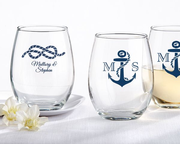 Personalized Stemless Wine Glass - Nautical Wedding - Wine Favors by Kate Aspen