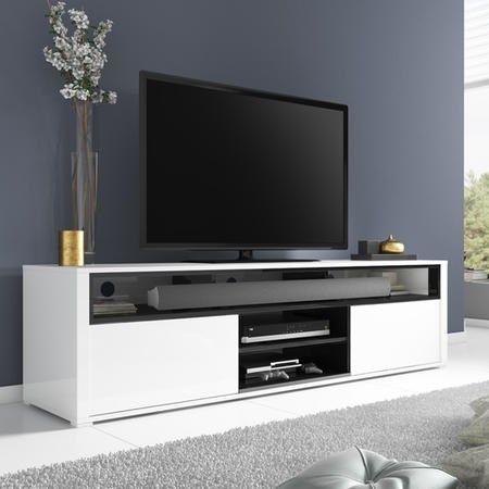 Evoque White High Gloss TV Unit With Soundbar Shelf | Furniture123