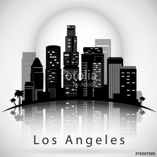 Vecteur : Los Angeles City Skyline. Typographic Design