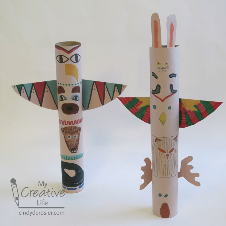 Turn a cardboard tube and construction paper into a cool totem pole, inspired by…