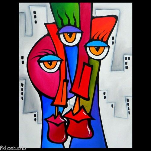 Shared - Original Abstract Modern POP Art Deco Painting by Fidostudio