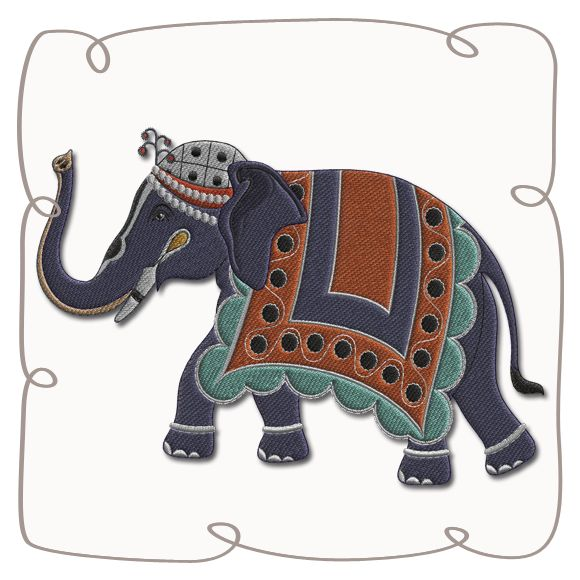 Bali Elephant 3 Machine Embroidery Design Pattern-INSTANT DOWNLOAD
