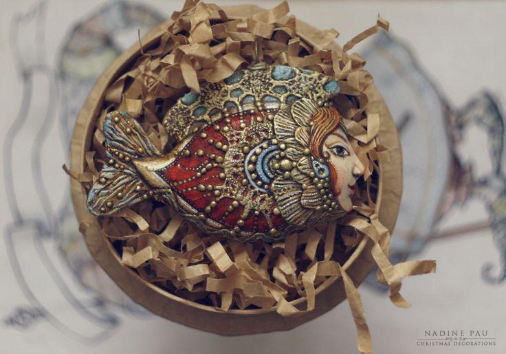 "Nadine Pau 2016 ""Fish"" Christmas decorations. Papier mache, oil patina varnish…"