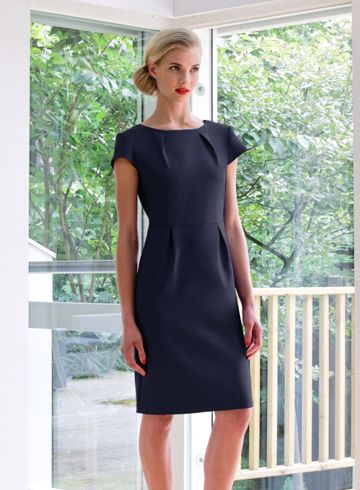 therapist uniform dress with pleat detail for the