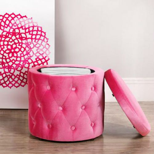 Round-Storage-Ottoman-Pink-Button-Tufting-Removable-Lid-Velour-Bedroom-Footstool