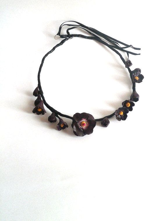 Dark violet flower crown or necklace purple black head wreath polymer clay flowers by Lijoux