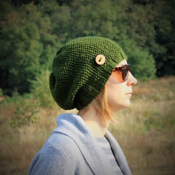 Green Slouchy Beanie Hat With Handmade Wooden Button by RUKAMIshop