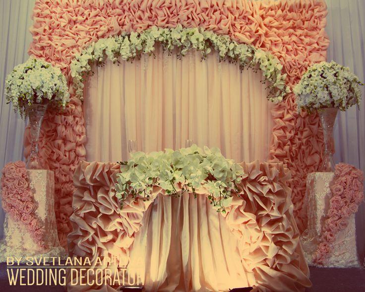 Свадьба в Калининграде, декор свадьбы в Калининграде, обучение свадебному декору. Шикарная свадьба. Драпировка, свадебная драпировка, флористика, президиум