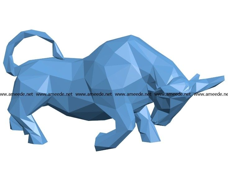 Bull low poly B003554 file stl free download 3D Model for