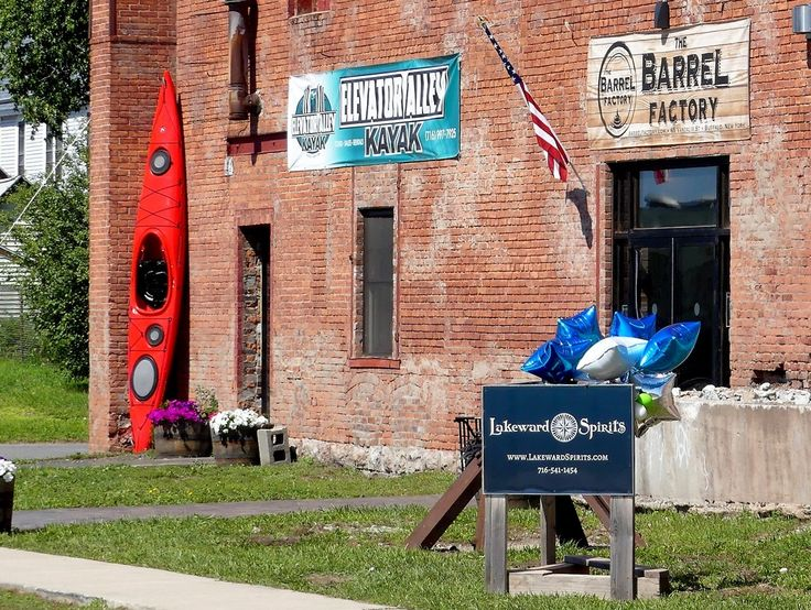Outside The Barrel Factory in Buffalo's historic Old First Ward. Redevelopment of the 113-year old factory is nearing completion. Tenants include the new Lakeward Spirits craft distillery with a tasting room & store plus distillery tours, the Snowy Owl Kombucha production studio & store, and Elevator Alley Kayak's store with sales, rentals, & kayak tours. A new Event Center is on the 2nd floor. More businesses coming soon!