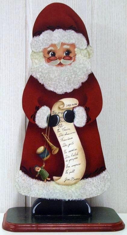 Peinture sur bois d 39 un pere noel avec une liste de cadeaux for Peintre sur bois
