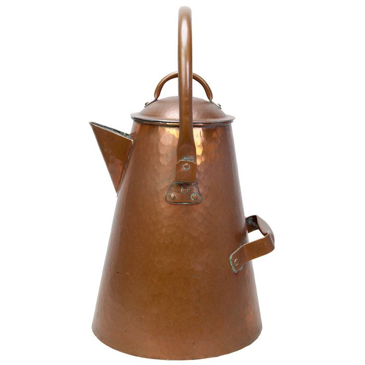Oversized American Craftsman (Cowboy Style) Copper Coffee Pot   From a unique collection of antique and modern platters and serveware at https://www.1stdibs.com/furniture/dining-entertaining/platters-serveware/