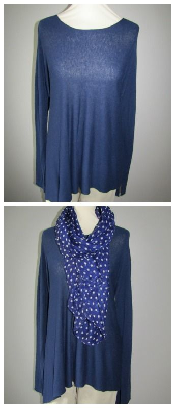 Brighten up this navy Suzy D jumper with a polka dot scarf. Available from love lagenlook clothing.com