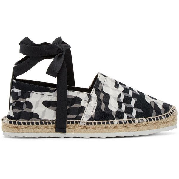 Pierre Hardy Black and White Cube Bauhaus Beach Espadrilles (465 AUD) ❤ liked on Polyvore featuring shoes, sandals, espadrilles shoes, woven shoes, braided leather sandals, toe-loop sandals and leather espadrille sandals