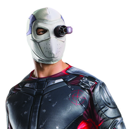 Adult Light Up Deadshot Deluxe Mask - You'll become the expert marksman and one of the newest anti-hero with this Deadshot mask, officially licensed from the Suicide Squad movie. The Deadshot mask come in a lightweight material,t t is sublimated to have all the detailing and velcros in the back. One eye has a black latex piece and the other has a latex target accuracy device. Pair it with your favourite Deadshot costume! #YYC #Calgary #costume #Deadshot #SuicideSquad