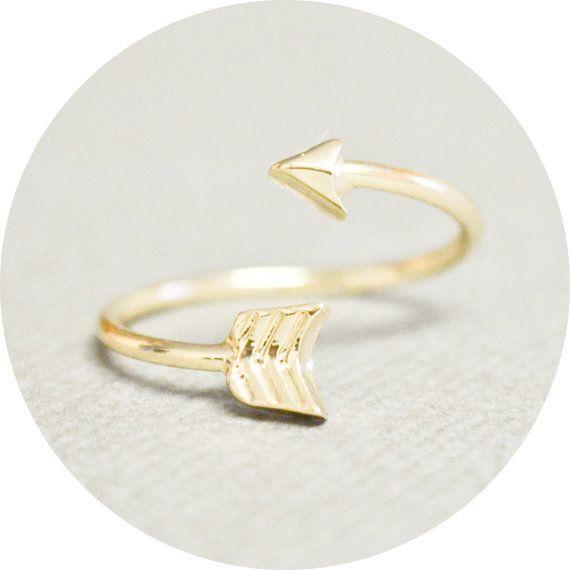 Gold Arrow Ring - FREE U.S. Shipping - Skinny, Dainty, Adjustable