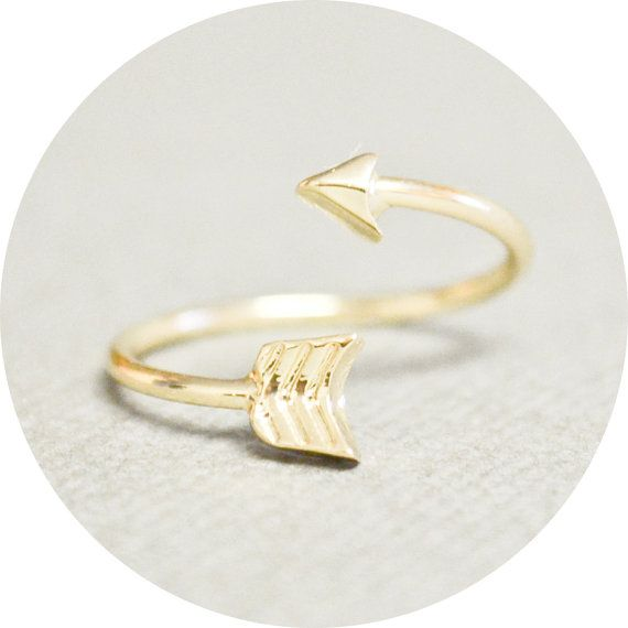 Gold Arrow Ring - FREE U.S. Shipping - Skinny, Dainty, Adjustable