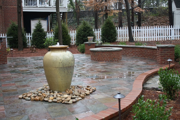 Red Brick Firepit with Seating Wall Water Feature and