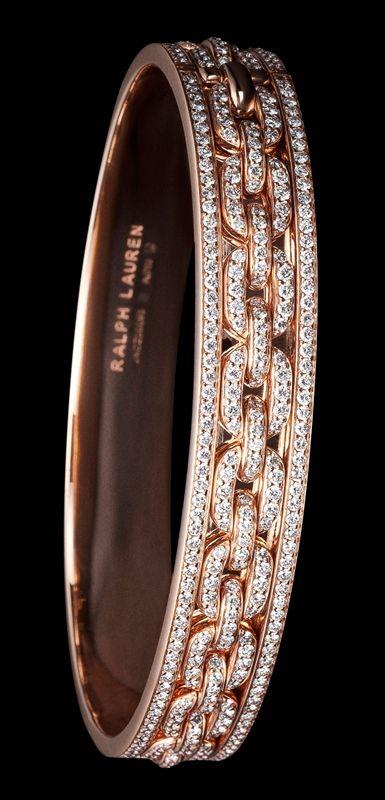 Ralph Lauren 18K rose gold single-chain bangle with diamonds
