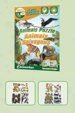 ANIMAIS PUZZLE - ANIMAIS SELVAGENS Descobre: - O que são animais selvagens - Onde vivem e o que comem - As diversas formas como se podem deslocar - O que são animais ovíparos e vivíparos - Características e curiosidades sobre animais como a girafa, o tubarão, o leão, o hipopótamo, entre outros