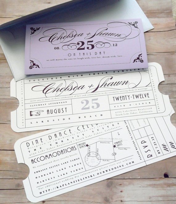 Formal Vintage Ticket  Wedding Invitation by LetterBoxInk on Etsy, $6.50
