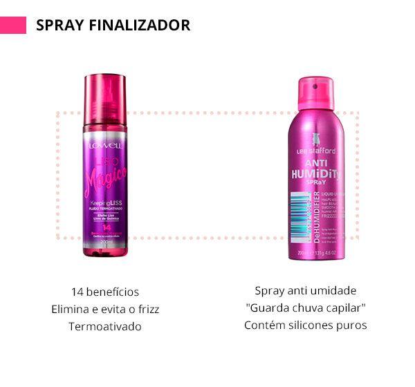 """O spray finalizador é ideal para controlar o frizz ao longo do dia. Uma boa aposta é o Anti Humidity, da Lee Stafford, que funciona como um """"guarda chuva"""" e mantem a umidade longe dos fios. Ou seja? Nada de frizz e fios armados."""