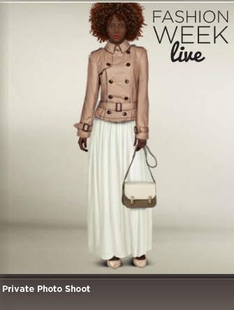 Today's model is wearing:  -- Vanilla pearl leather pumps  -- Tumbleweed short trench coat  -- Eggshell full skirt