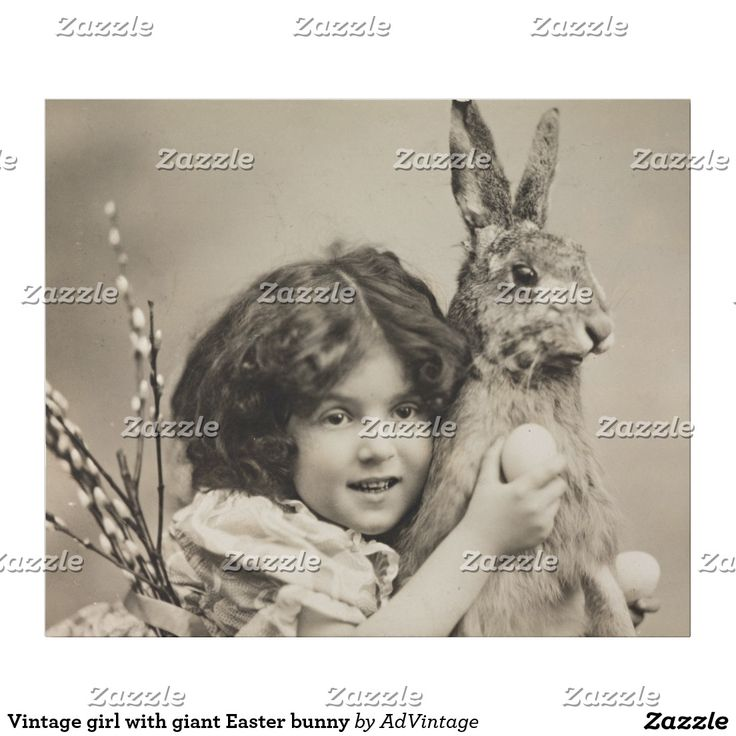 Vintage girl with giant Easter bunny Wrapping Paper