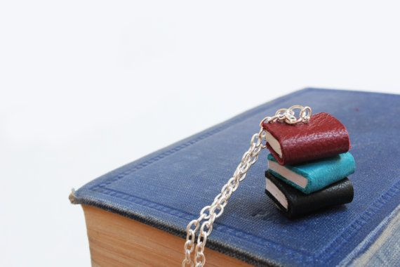 Maroon, Teal & Black Leather Book Stack Necklace - Miniature Handcrafted Leather Book Jewellery - Unique and One of a Kind (OOAK) https://www.etsy.com/nz/shop/ExLibrisJewellery