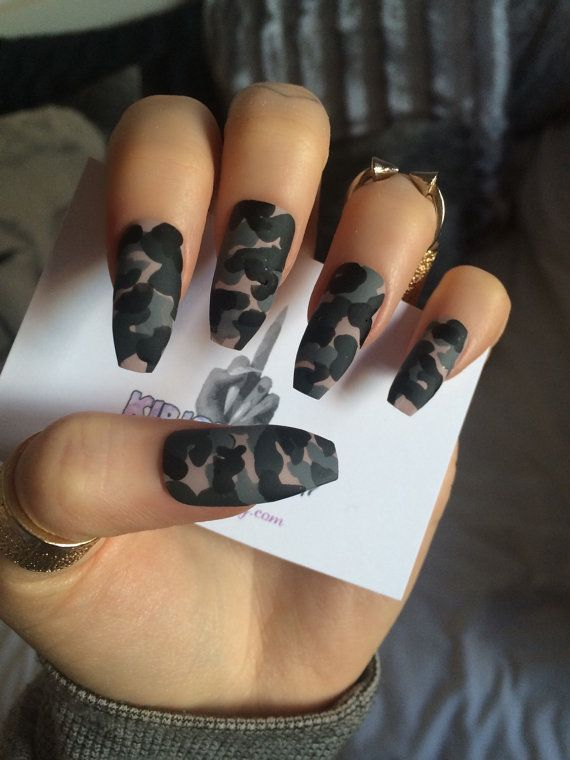 x Camo Klaws x Camouflage false nails long glue on by KirisKlaws
