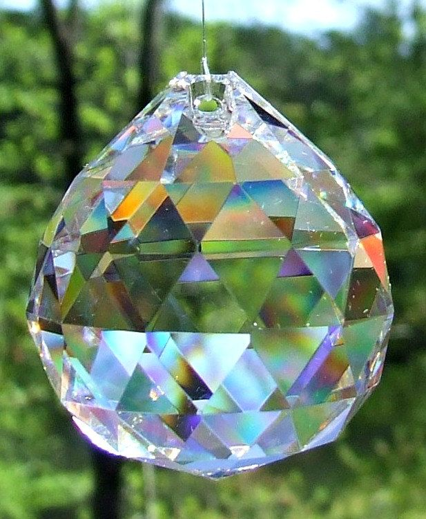 Asfour 40mm Full Lead Faceted Crystal Prism Ball, Sun Catcher, Feng Shui Crystal Prism - pinned by pin4etsy.com