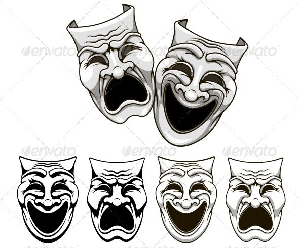 pictures of drama masks tragedy and comedy theater masks editor vector program 4425